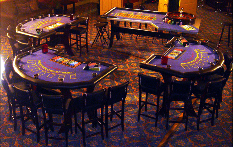 3 X Blackjack Tables, along with Chairs & 1 X Roulette Table with stools